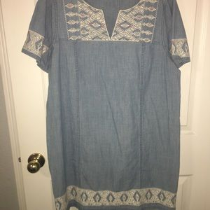 Madewell Embroidered Chambray Shift Tunic Dress